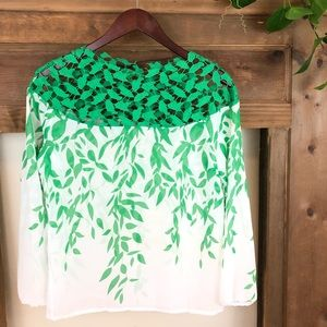 Lace top and leaf motif sheer blouse